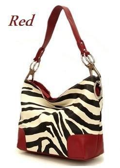 Zebra Print Fish Hook Handbag Purse, Red (120-3180)