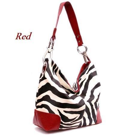 Zebra Print Fish Hook Handbag Purse, Red (120-3179)