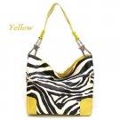 Zebra Print Fish Hook Handbag Purse, Yellow (120-3179)
