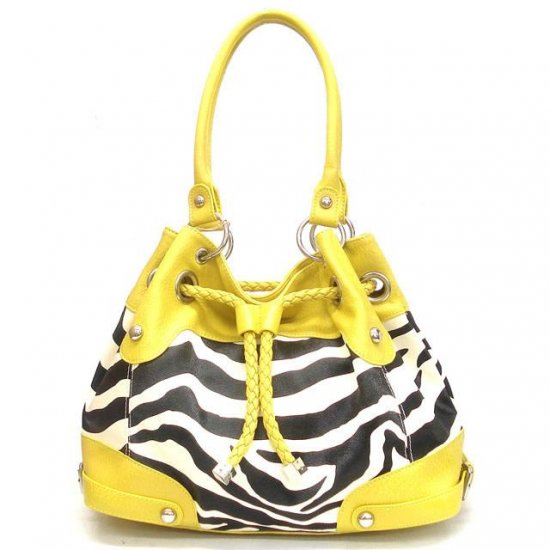 Zebra Print Drawstring Handbag Purse, Yellow (120-2930)