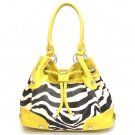 Zebra Print Drawstring Handbag Purse, Yellow (120-2930)