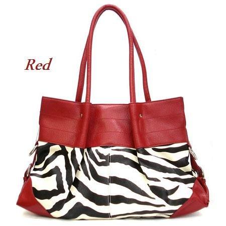 Zebra Print Women's Tote Handbag Purse, Red (120-2777)
