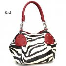 Zebra Print Women's Handbag Purse, Red (120-2018)
