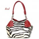 Zebra Print Women's Handbag Purse, Red (120-2017)