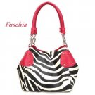 Zebra Print Women's Handbag Purse, Fuschia (120-2017)