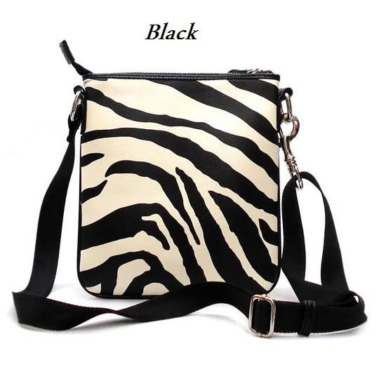 Zebra Print Messsenger Style Handbag Purse, Black (120-1891)