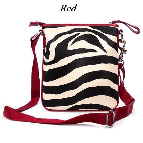 Zebra Print Messsenger Style Handbag Purse, Red (120-1891)