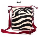 Zebra Print Messsenger Style Handbag Purse, Red (120-1891)