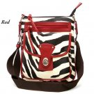 Zebra Print Messsenger Style Handbag Purse, Red (120-1167)