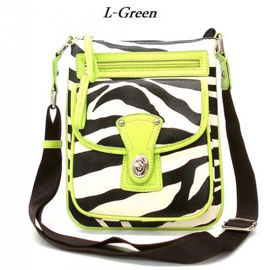 Zebra Print Messsenger Style Handbag Purse, Green (120-1167)