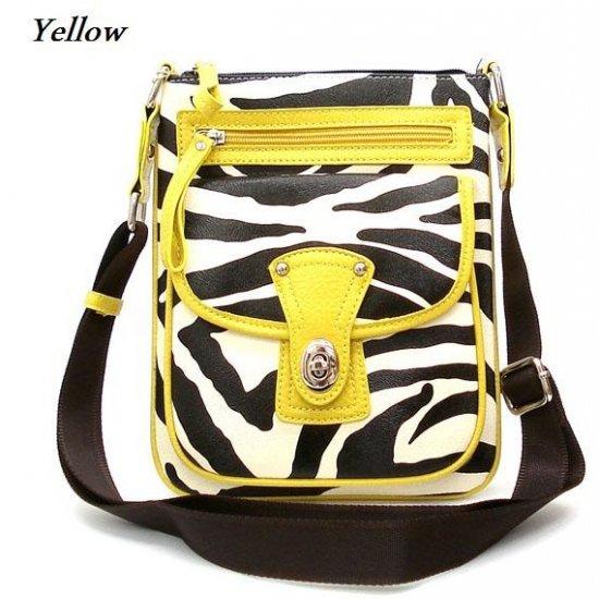 Zebra Print Messsenger Style Handbag Purse, Yellow (120-1167)