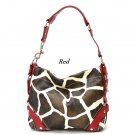 Giraffe Print Women's Carly Handbag Purse, Red (122-5029)