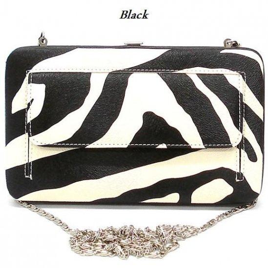 Zebra Print Women's Frame Wallet, Black (120AW147)