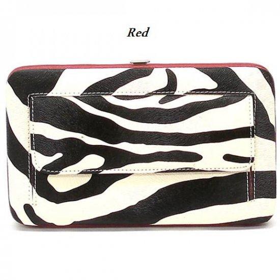 Zebra Print Women's Frame Wallet, Red (120AW147)
