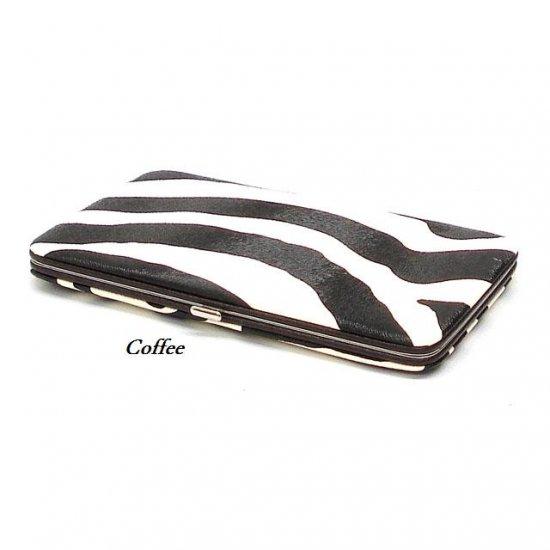 Zebra Print Women's Frame Wallet, Coffee (120AW111)