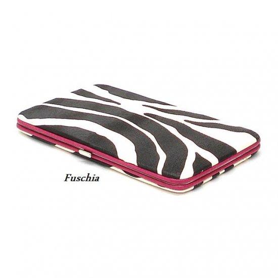Zebra Print Women's Frame Wallet, Fuschia (120AW111)