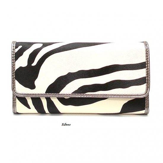 Zebra Print Women's Tri Fold Checkbook Wallet, Silver (120AW107)