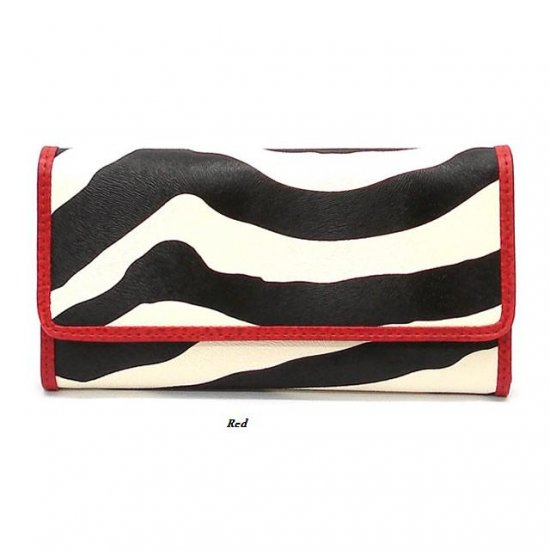 Zebra Print Women's Tri Fold Checkbook Wallet, Red (120AW107)