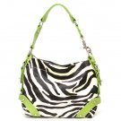 Zebra Print Women's Carly Handbag Purse, Green (120-5029)