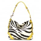 Zebra Print Women's Carly Handbag Purse, Yellow (120-5029)