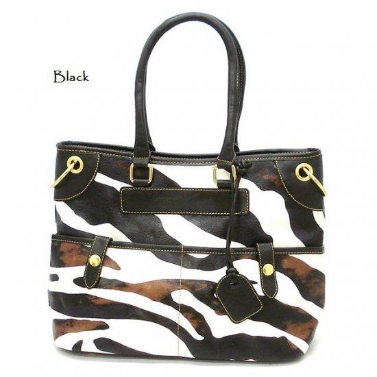 Zebra Print Women's Tote Handbag Purse, Black (DN785)