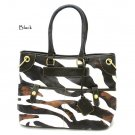 Zebra Print Women's Tote Handbag Purse, Black (DN785)