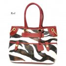 Zebra Print Women's Tote Handbag Purse, Red (DN785)