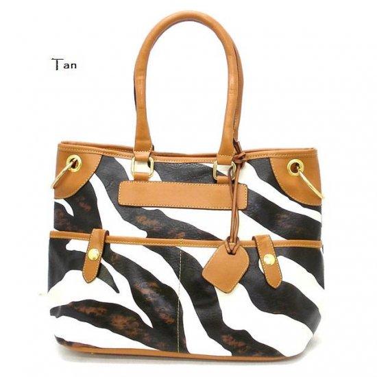 Zebra Print Women's Tote Handbag Purse, Tan (DN785)