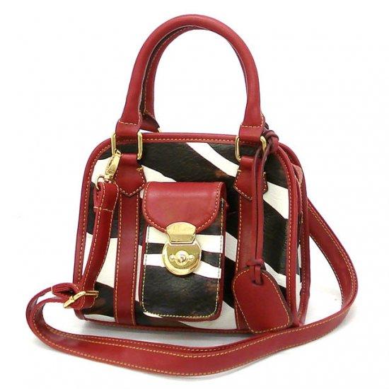 Zebra Print Women's Handbag Purse, Red (DN789)