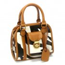 Zebra Print Women's Handbag Purse, Tan (DN789)