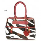 Zebra Print Women's Handbag Purse, Red (DN711)