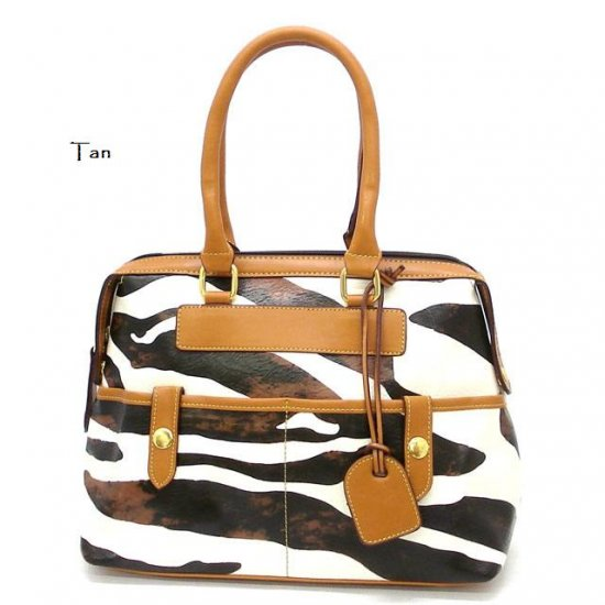Zebra Print Women's Handbag Purse, Tan (DN711)