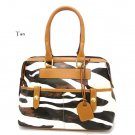 Zebra Print Women's Handbag Purse, Tan (DN711)