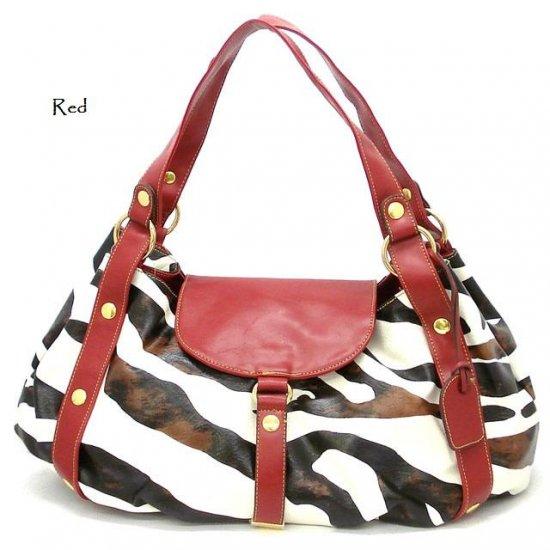 Zebra Print Women's Satchel Handbag Purse, Red (DN710)