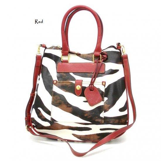 Zebra Print Tear Drop Hobo Handbag Purse, Red (DN788)