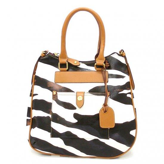 Zebra Print Tear Drop Hobo Handbag Purse, Tan (DN788)