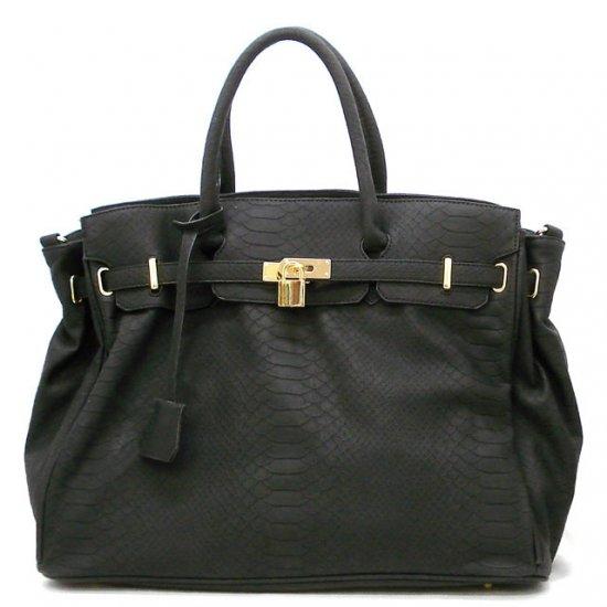 Urban Expressions Padlock Tote Handbag Purse, Black (X5108)