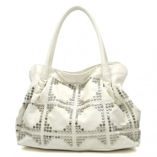 UE Adalie Studded Tote Handbag Purse, White
