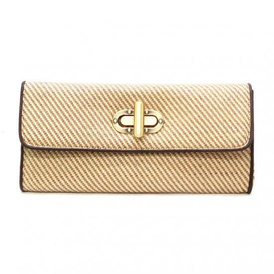 UE Clair Jute Fabric Clutch Handbag, Camel