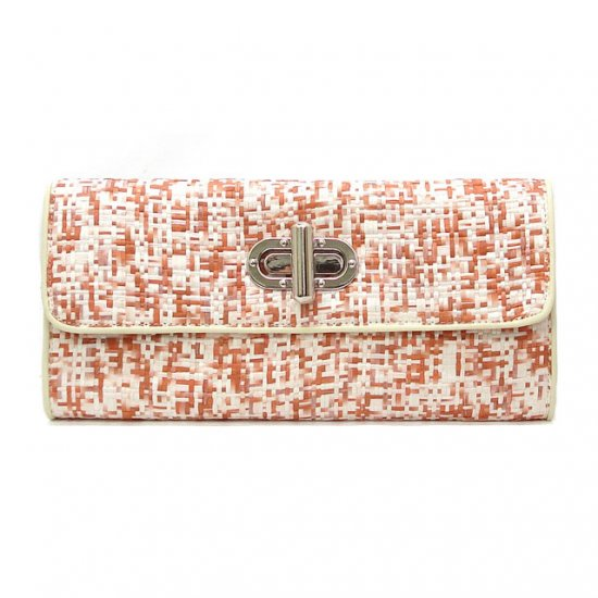 UE Clair Jute Fabric Clutch Handbag, Rust