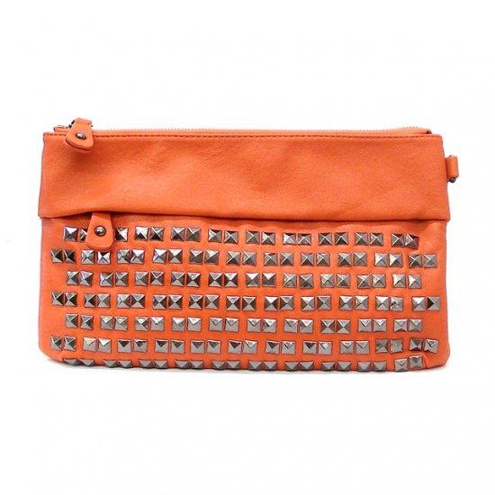 UE Henriette Studded Clutch Bag, Orange