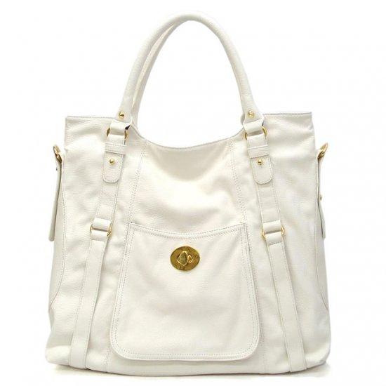 Abelia Tote Handbag Purse, White