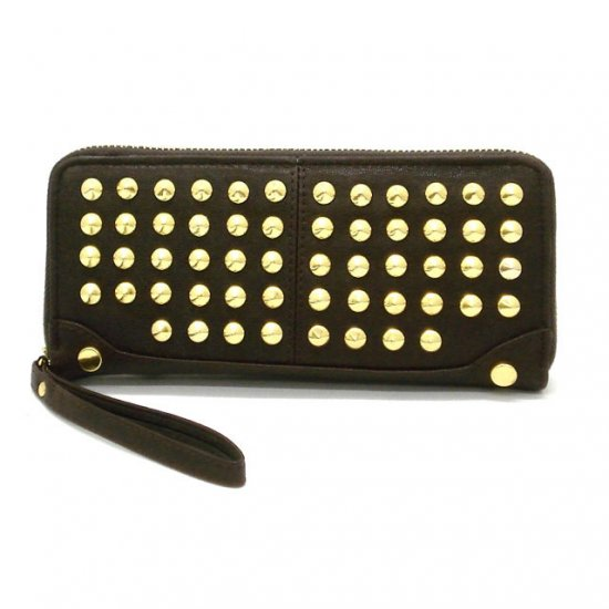 Adalicia Studded Women's Wallet, Brown