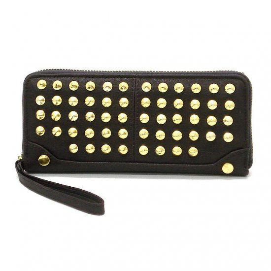 Adalicia Studded Women's Wallet, Dark Purple