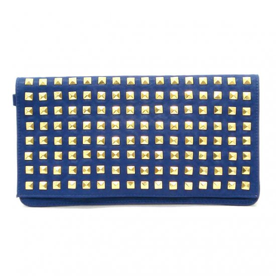 Claire Studded Clutch Bag, Blue