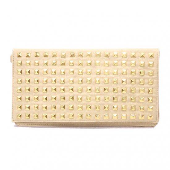 Claire Studded Clutch Handbag, Cream