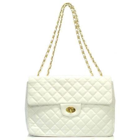 Hettie Quilted Shoulder Handbag, White