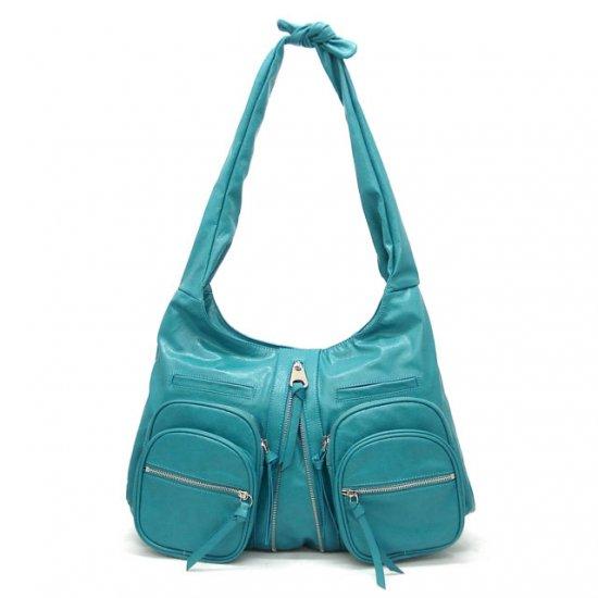 Clara Knotted Shoulder Handbag, Turquoise