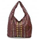 Urban Expressions Maryvonne Studded Hobo Handbag, Brown
