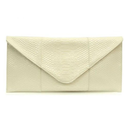 Claribel Envelope Style Clutch Handbag, Ivory
